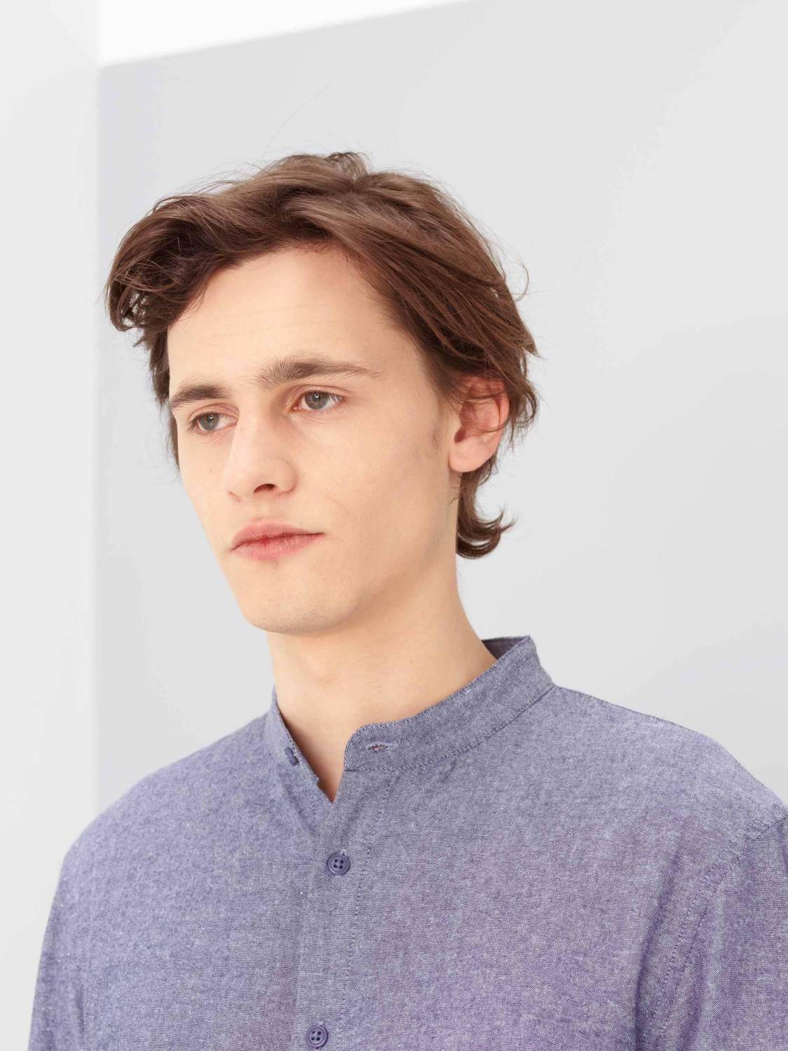 Stand-collar Chambray Shirt