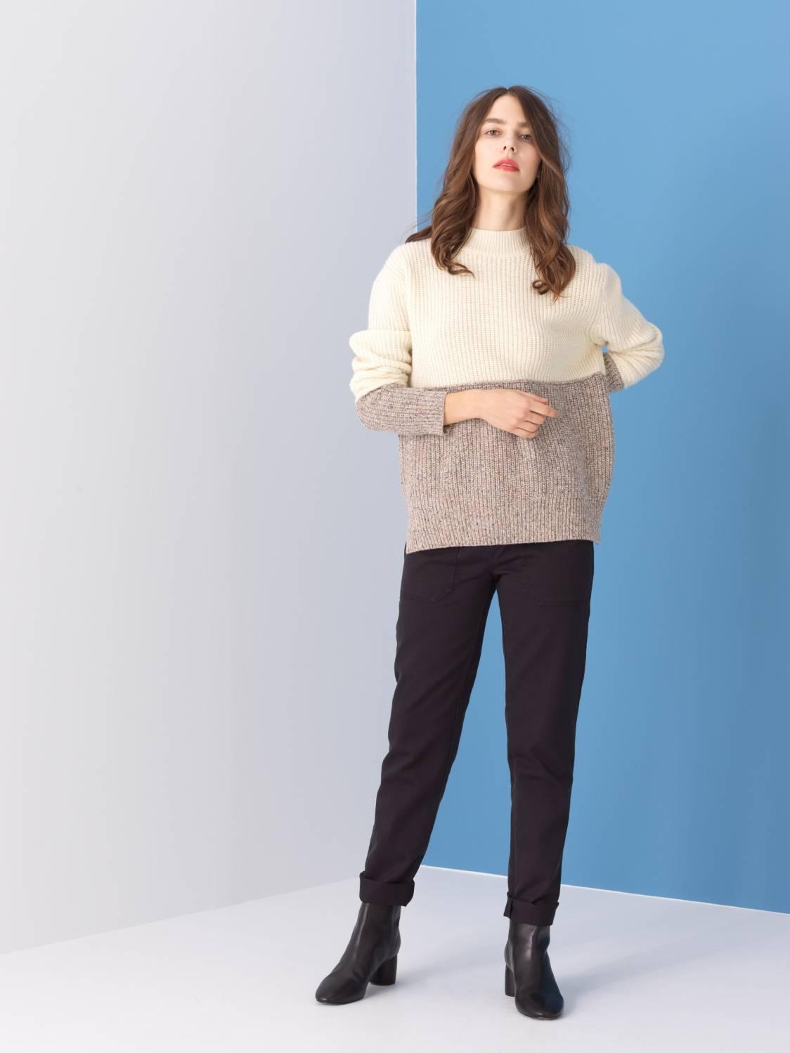 Pull bicolore en laine d'agneau