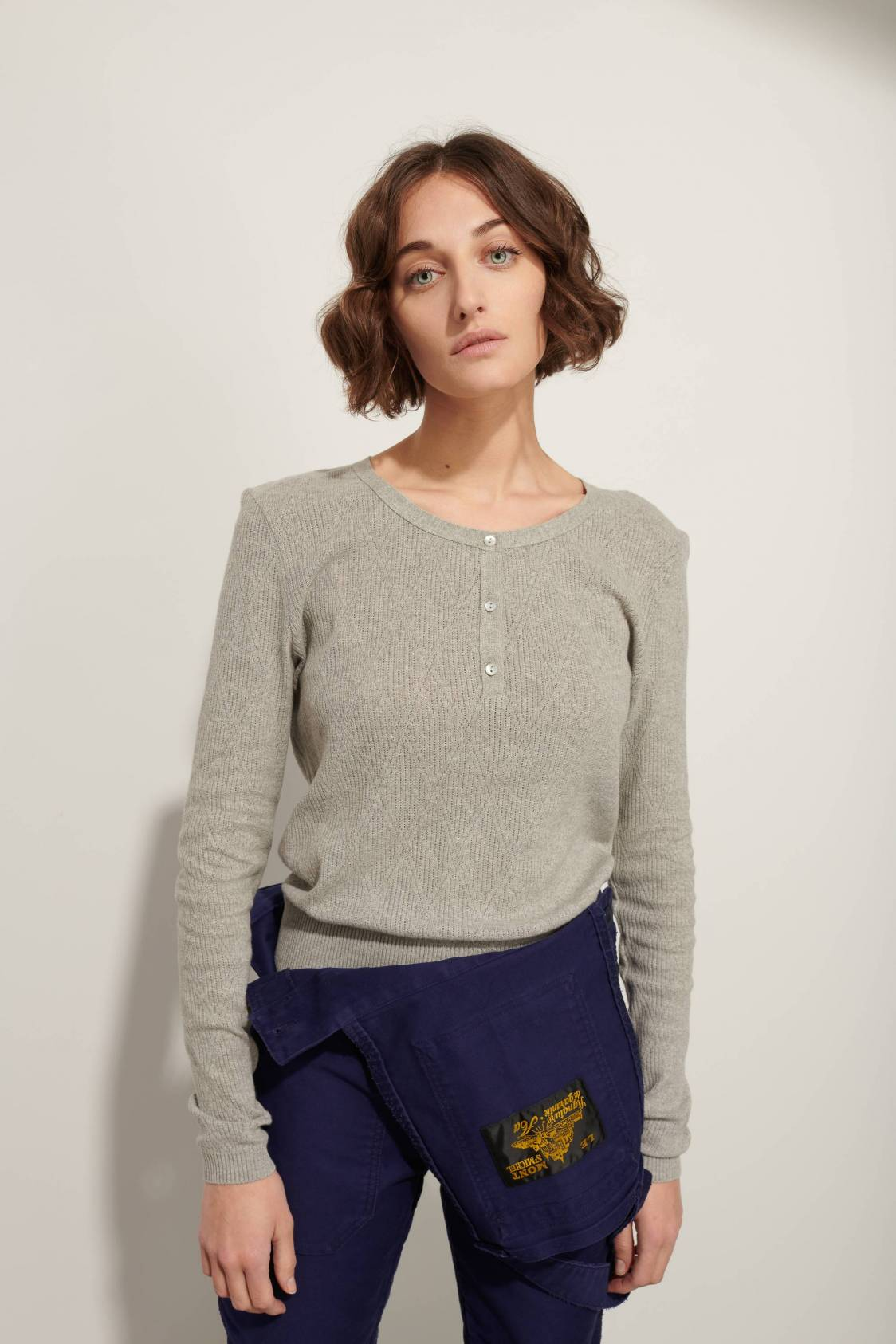 Diamond-shape jacquard sweater