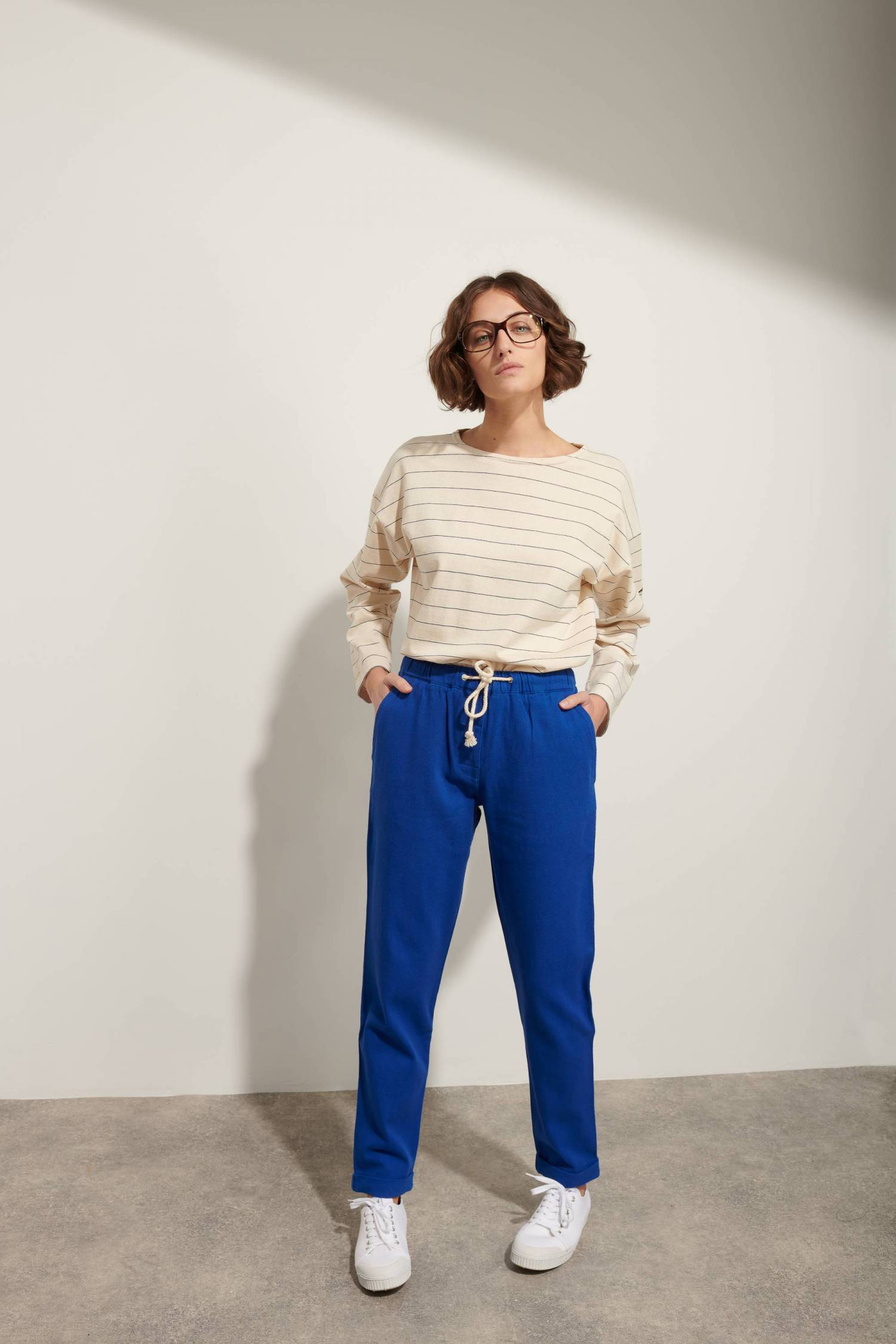 Drawstring Cotton Twill Trousers