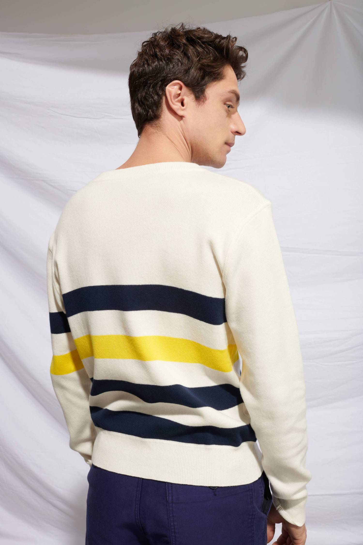 Pull larges rayures façon Sweatshirt