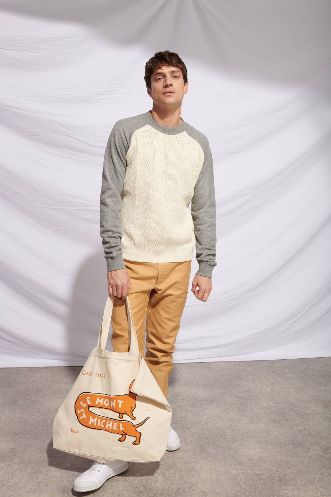Bi-material Baseball Sweater