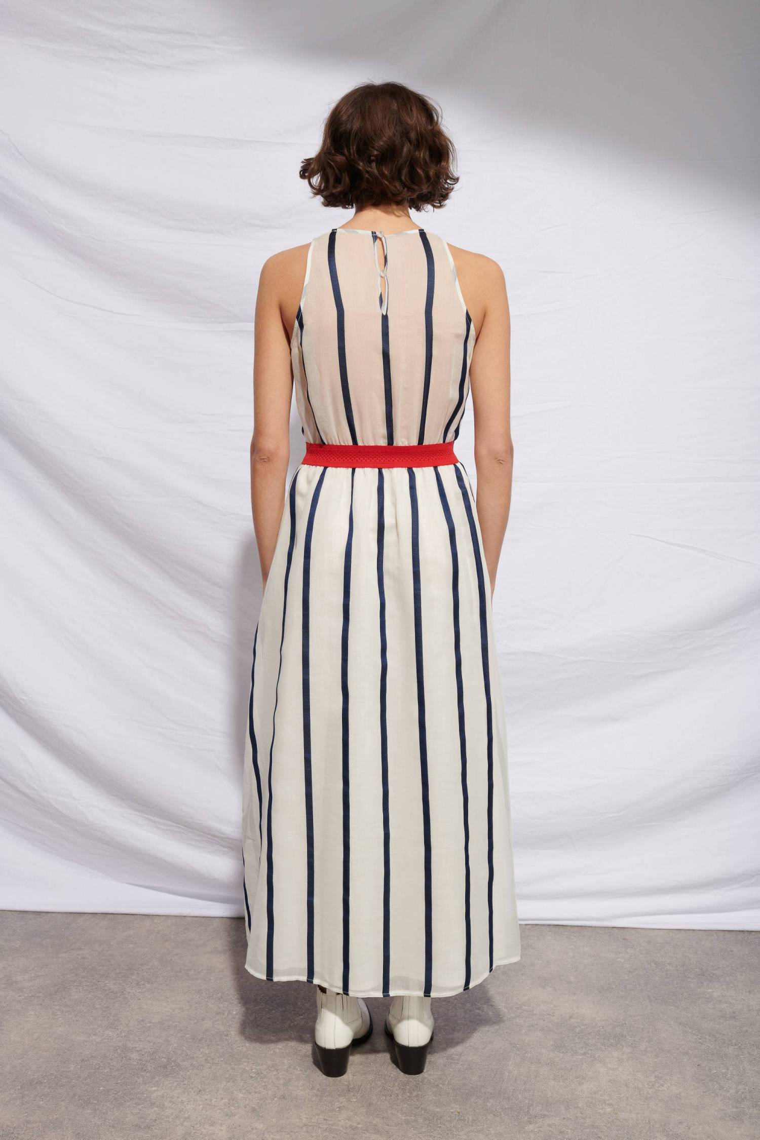 Robe rayée taille contrastante