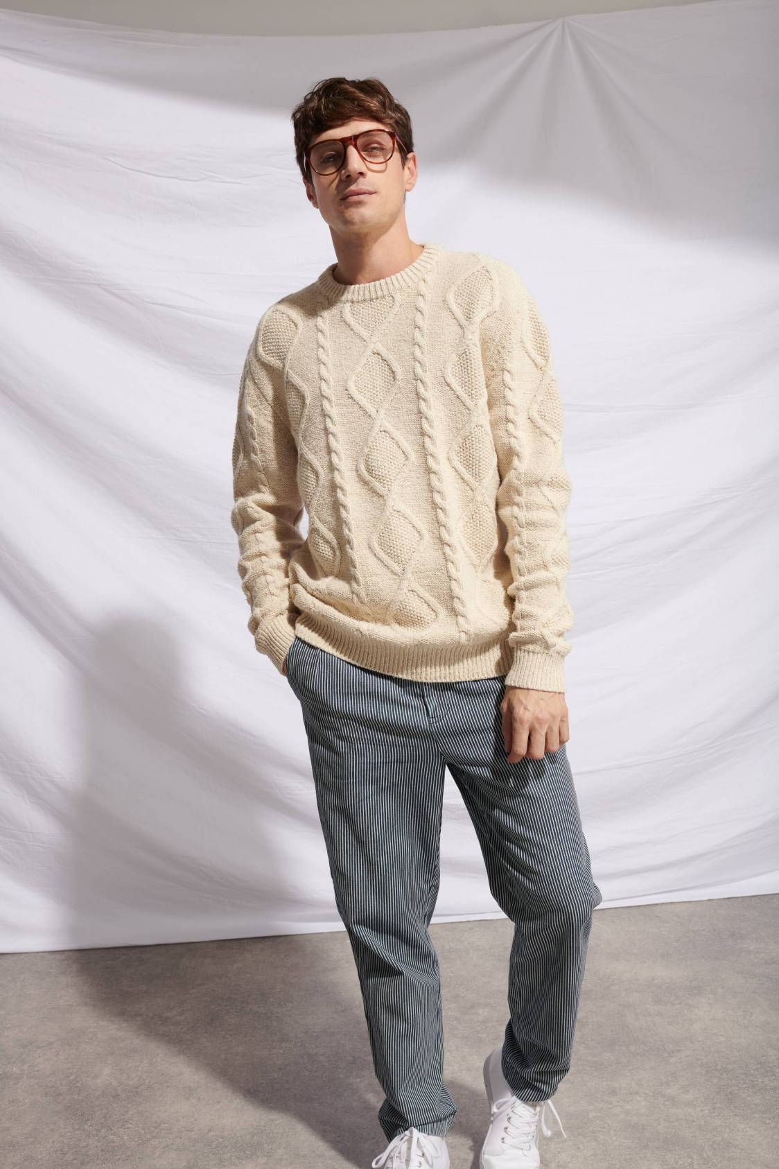 Recycled-yarn Cable Sweater