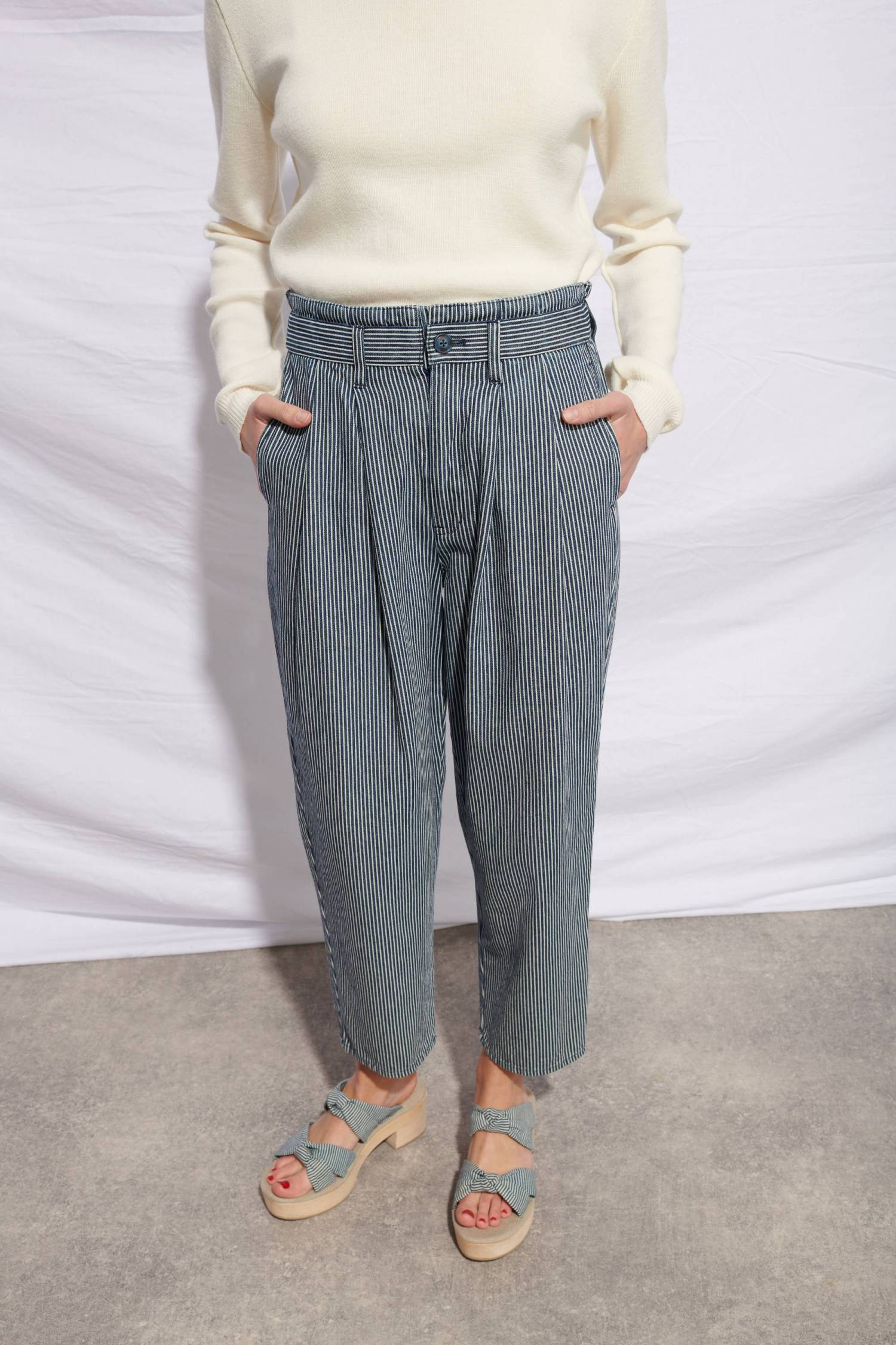 Pantalon en denim rayé