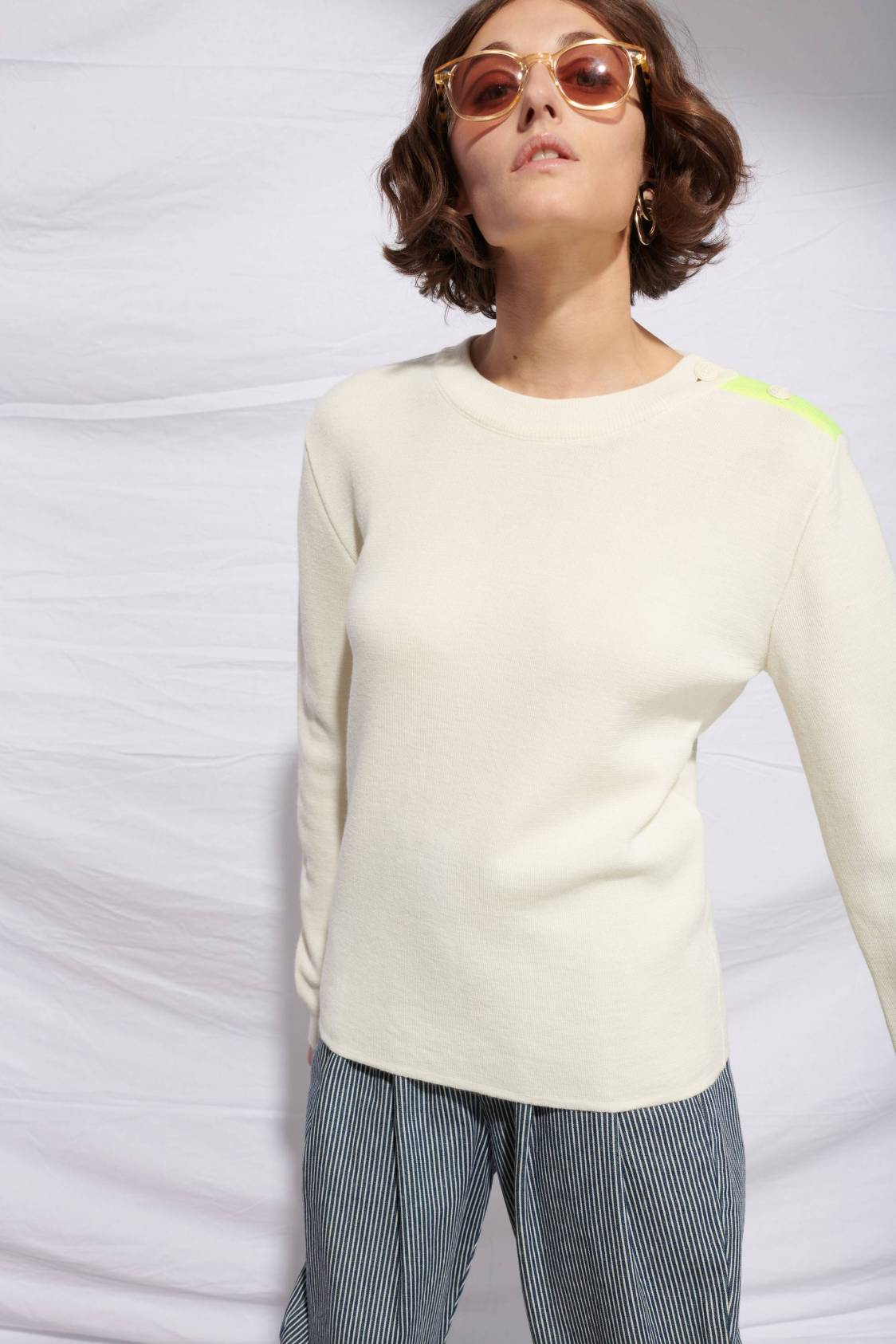 Pull Marin détail fluo