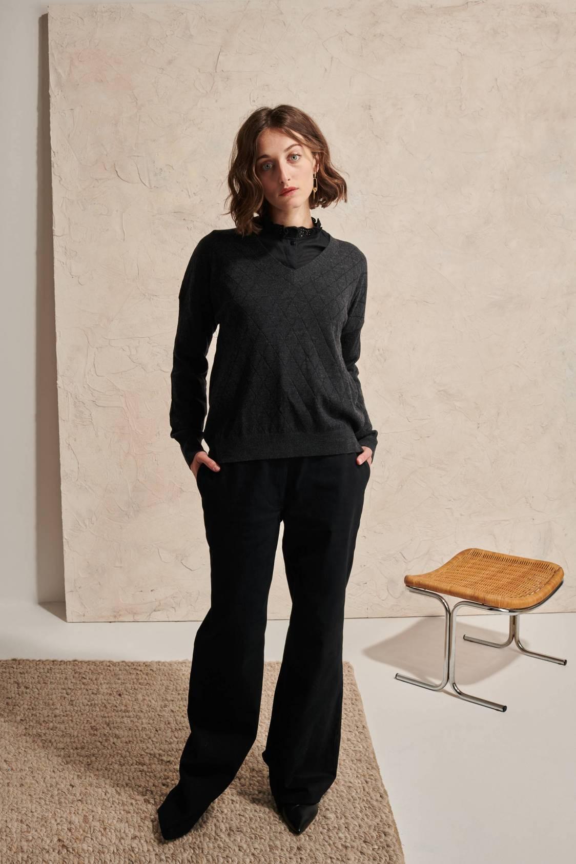 Diamond V-Neck Sweater