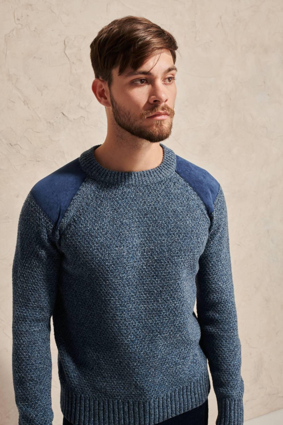 Pull empiècements épaules en laine d'agneau