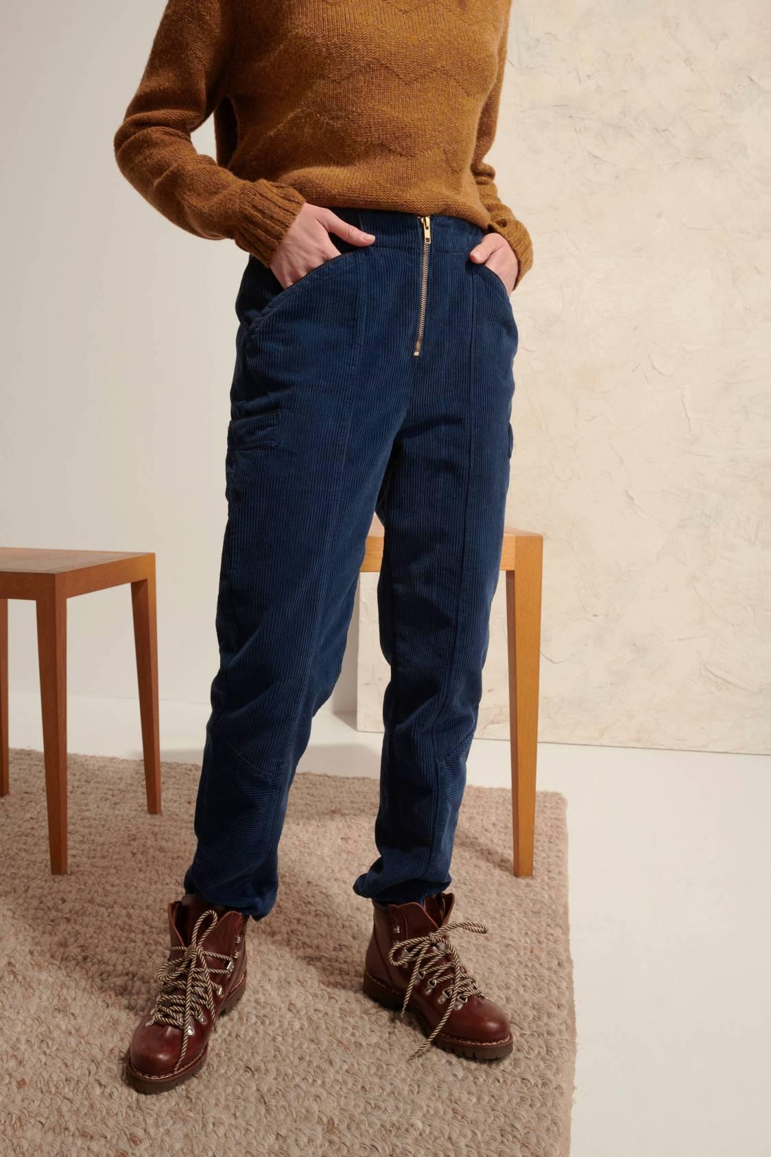 Pantalon en velours côtelé zippé