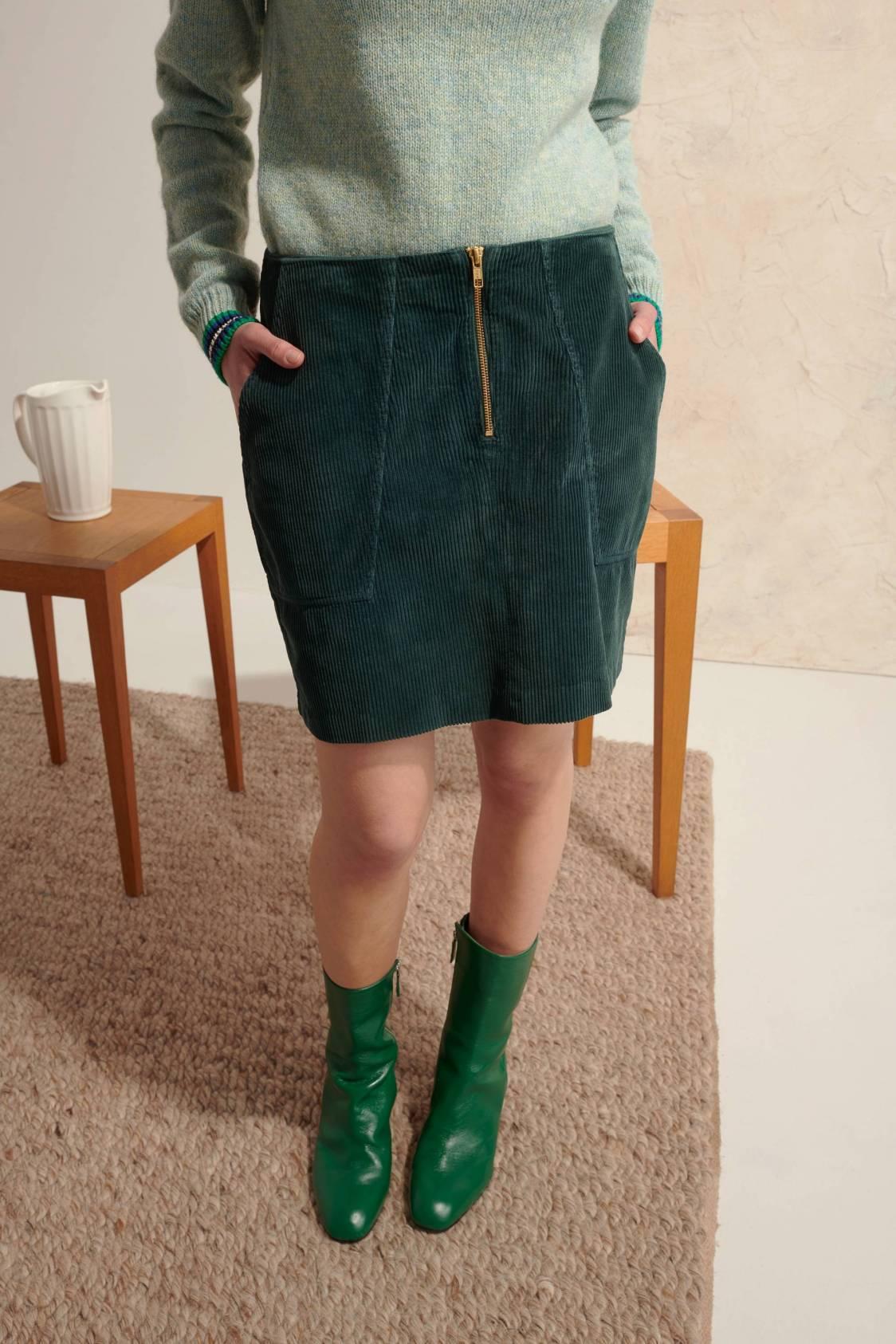 Zip-fastening Corduroy Skirt