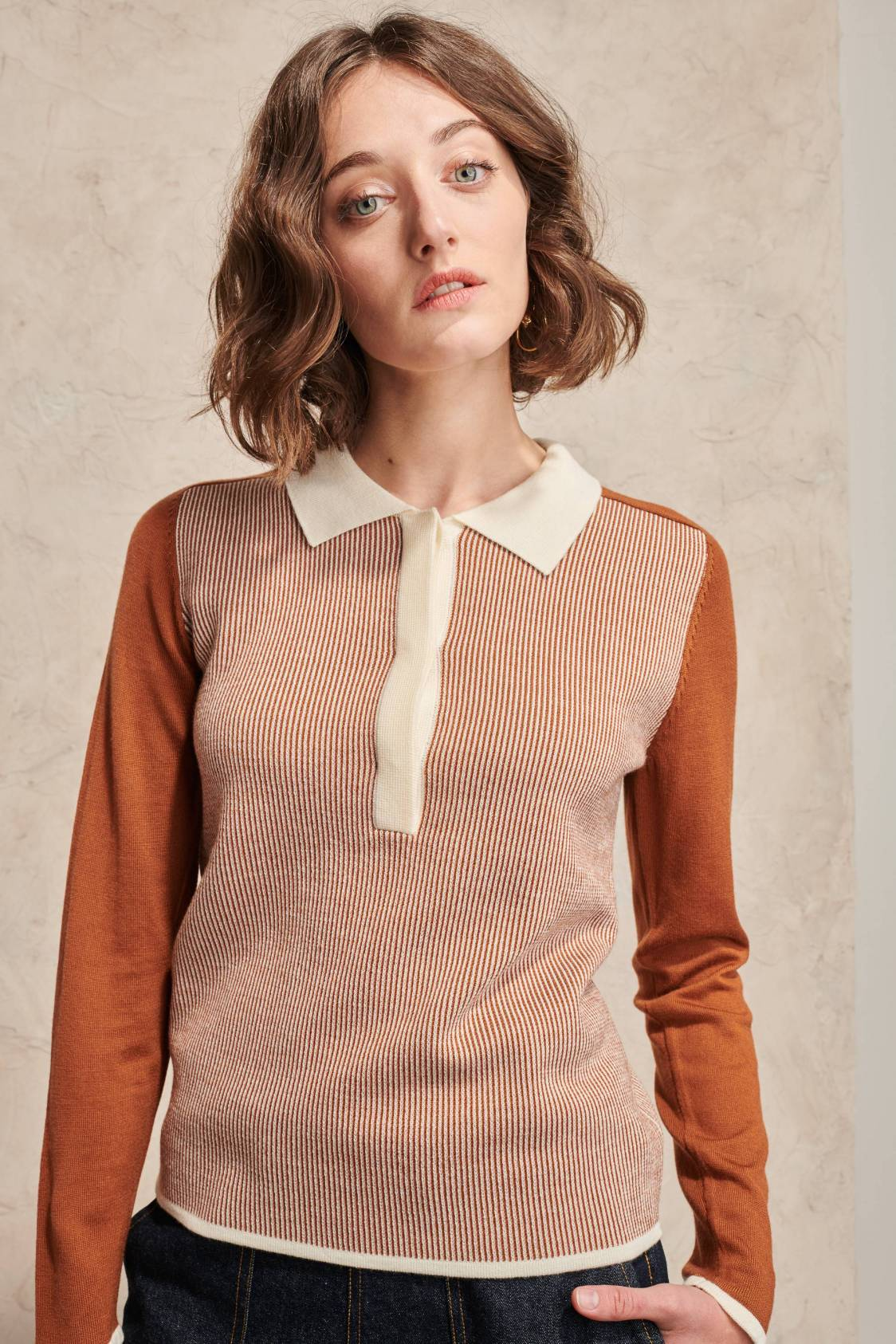 Pull col polo vintage