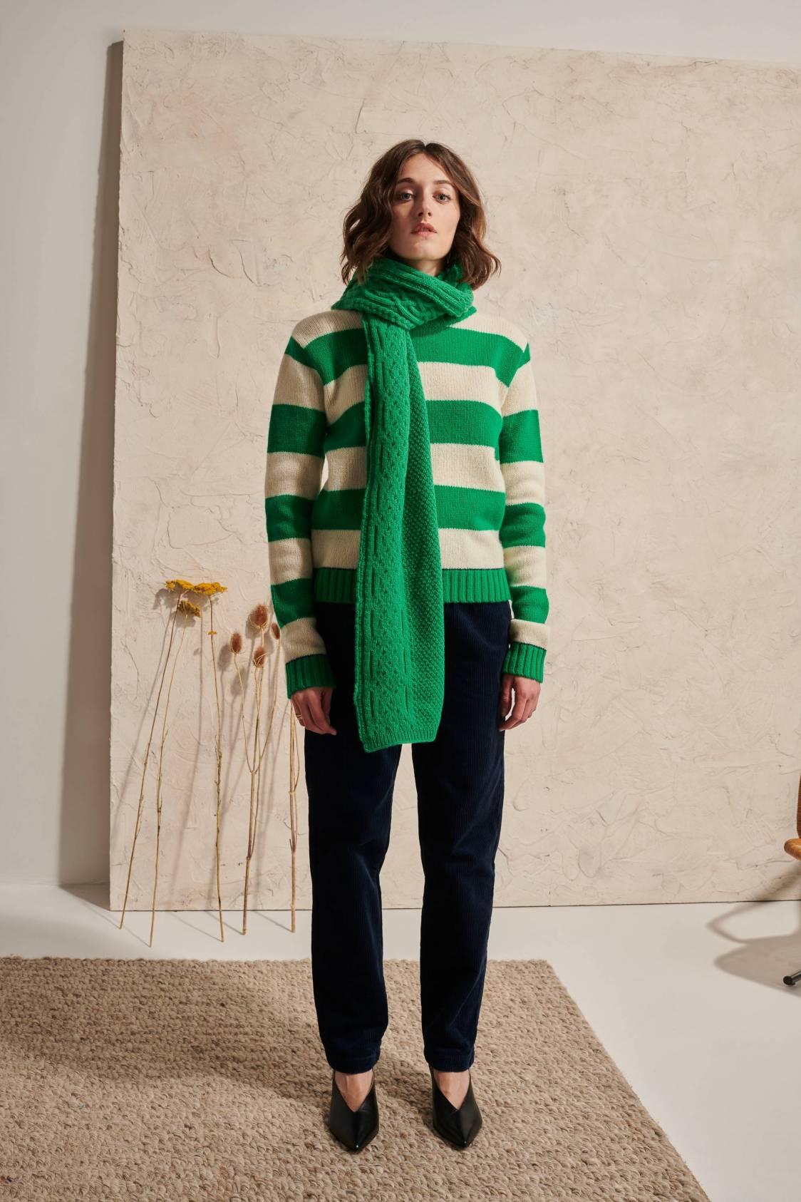 Large-stripe Shetland Sweater