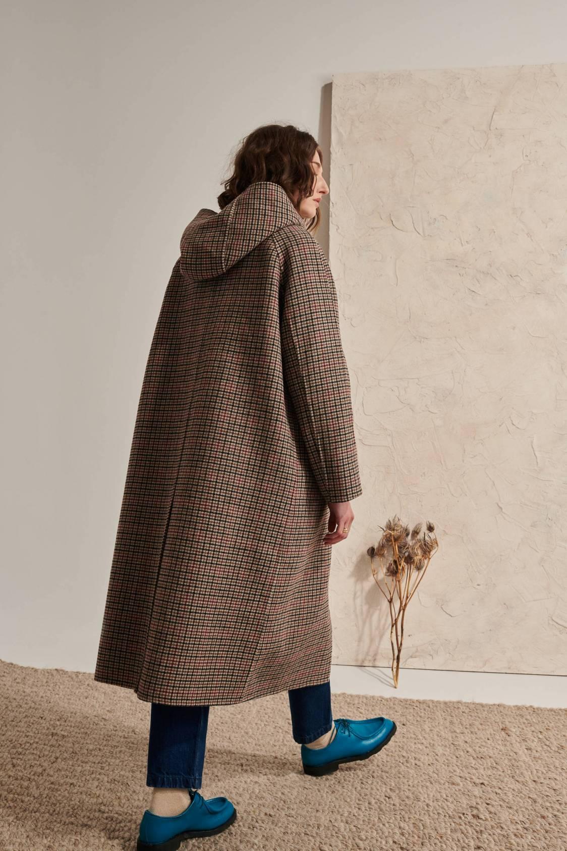 Manteau long pied-de-poule