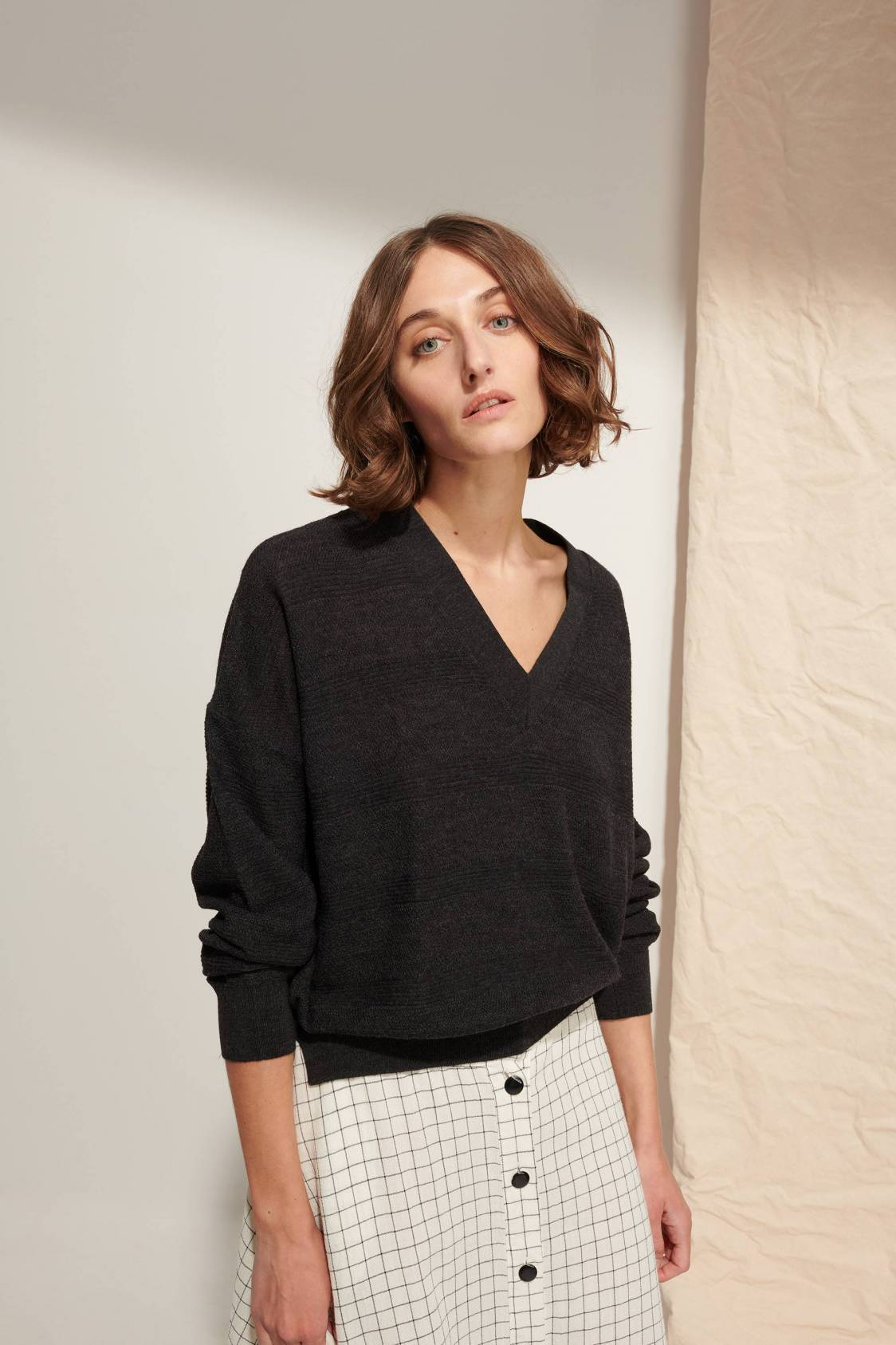 Pull col V maille texturée