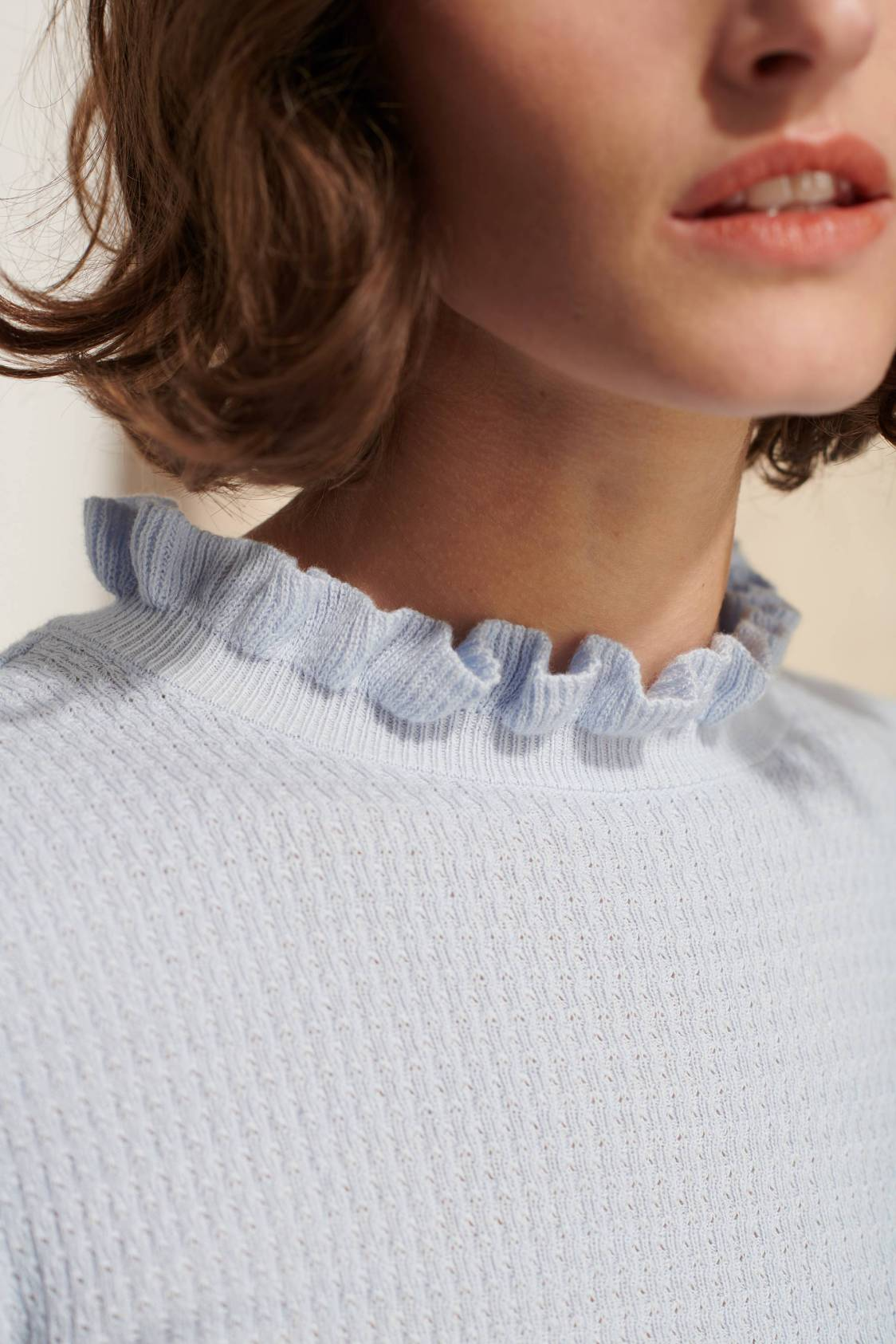 Textured-knit Gather-collar Sweater