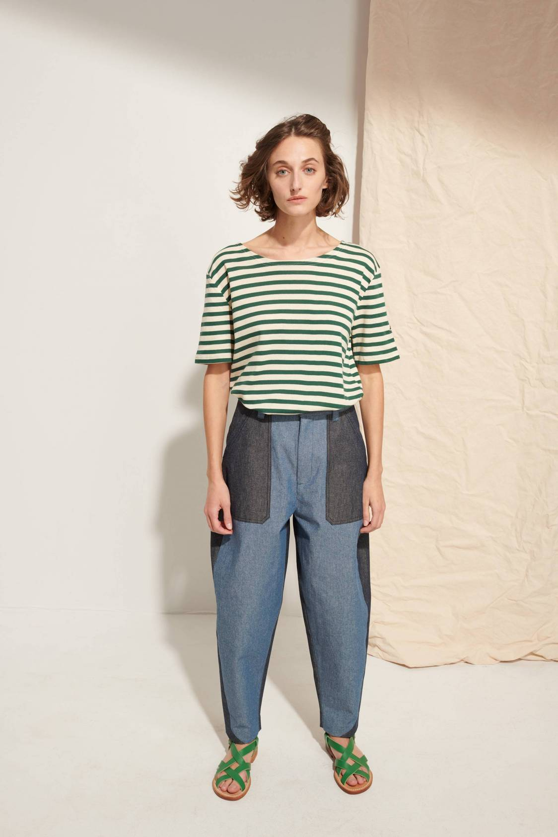 Pantalon bicolore en denim