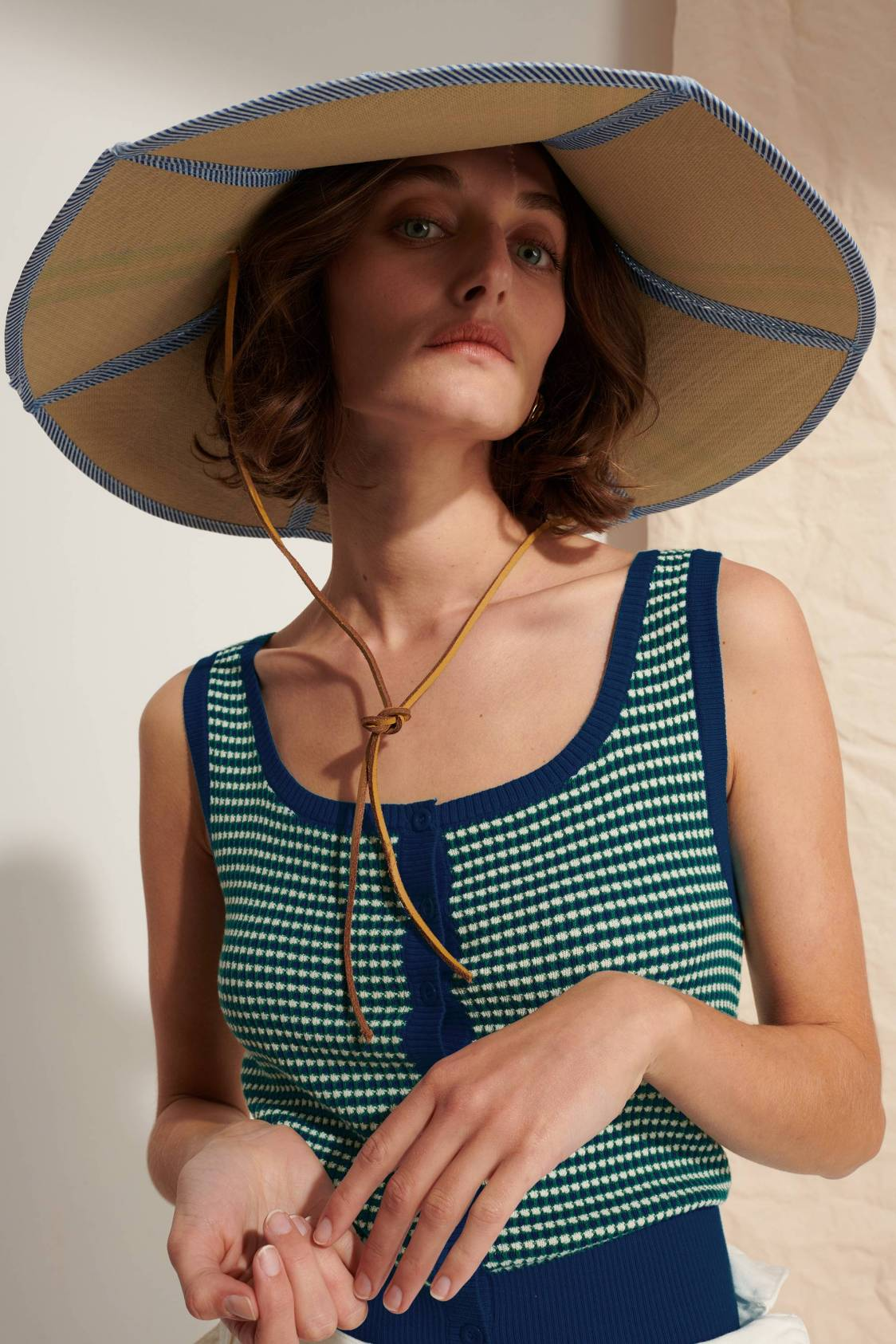 Tricolor Caviar-knit Tank Top