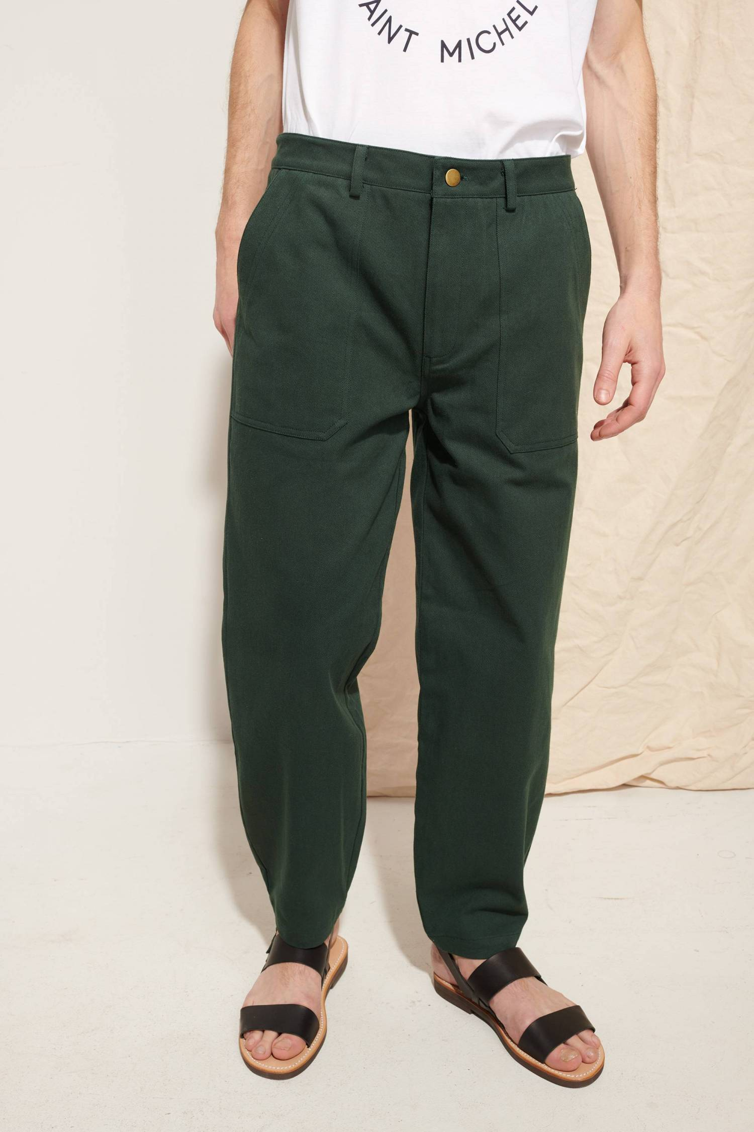 Pantalon large en sergé lourd
