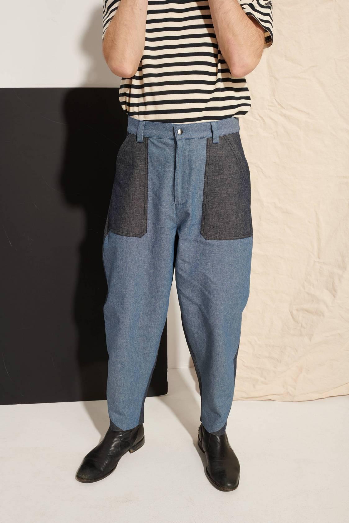 Pantalon bicolore en denim