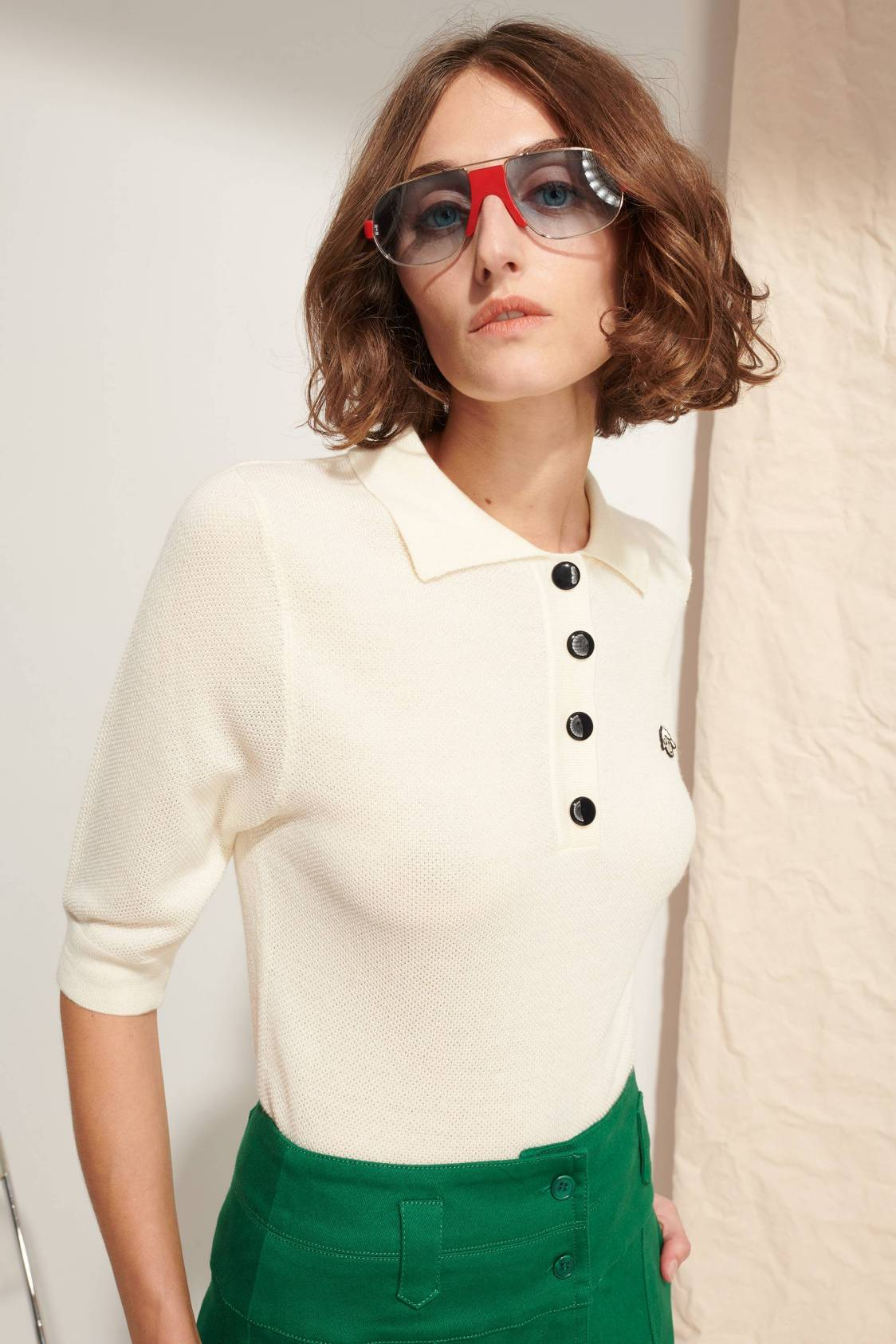 Knit Polo Sweater with sheep embroidery