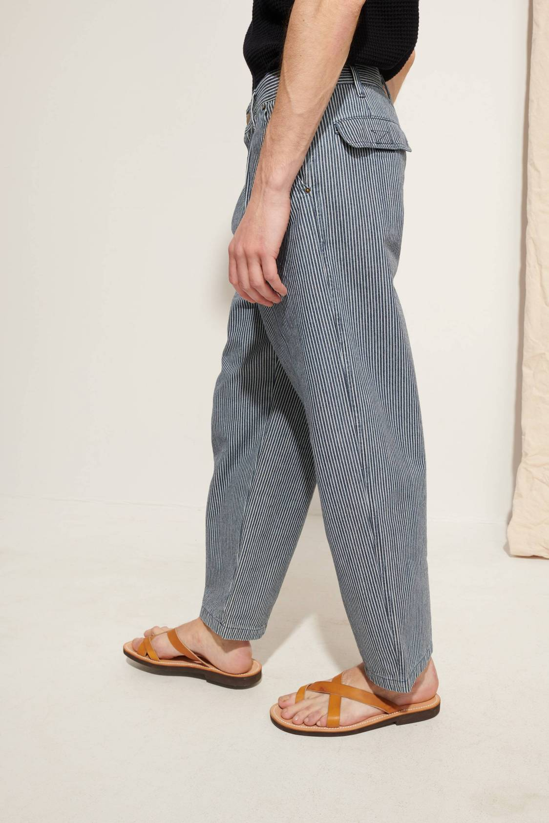 Large Striped Denim Trousers