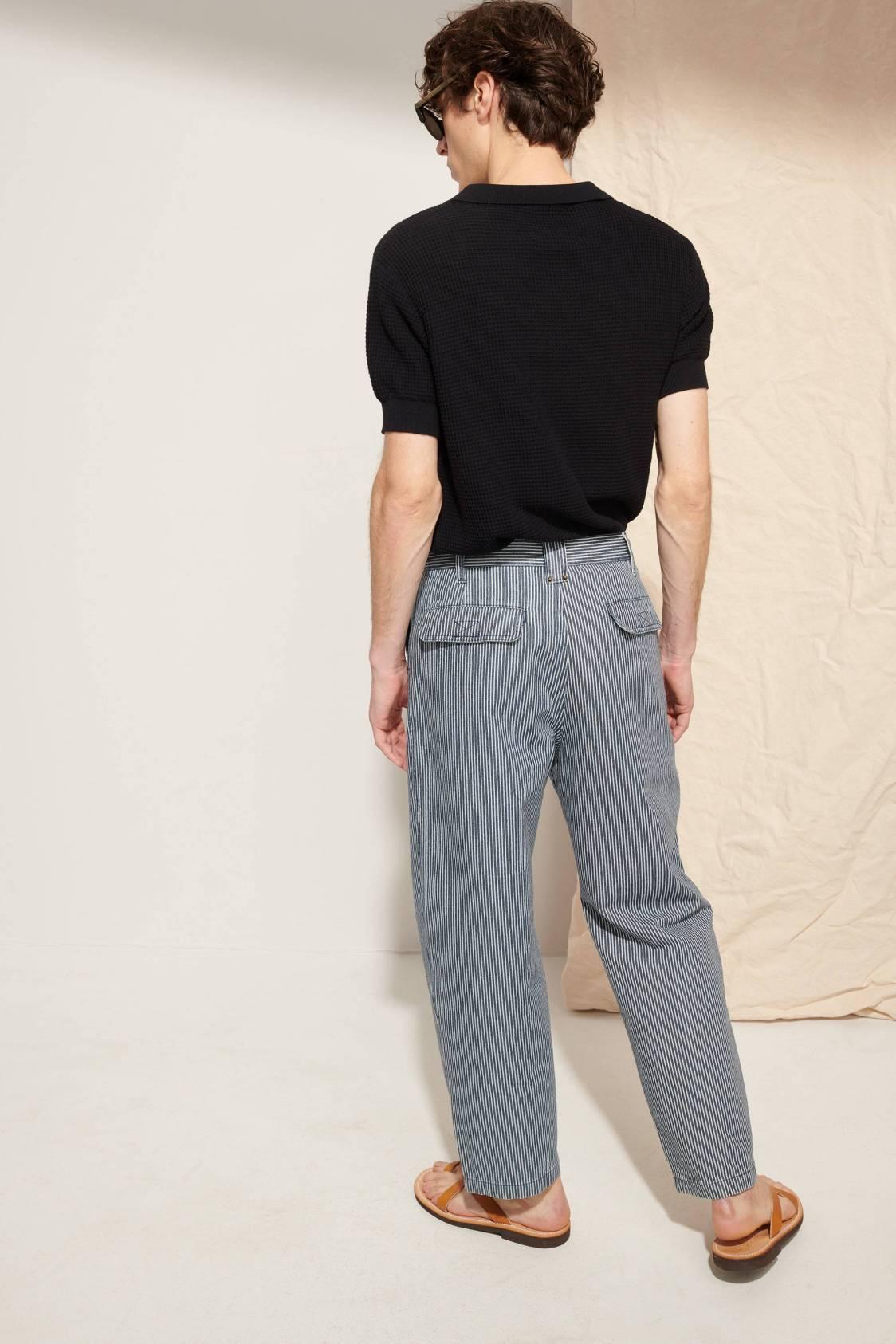 Pantalon large en denim rayé