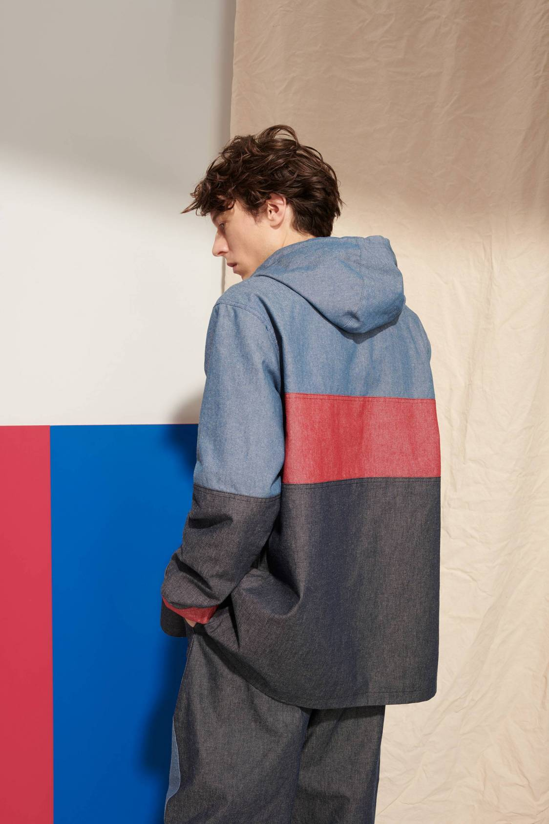 Parka en denim tricolore