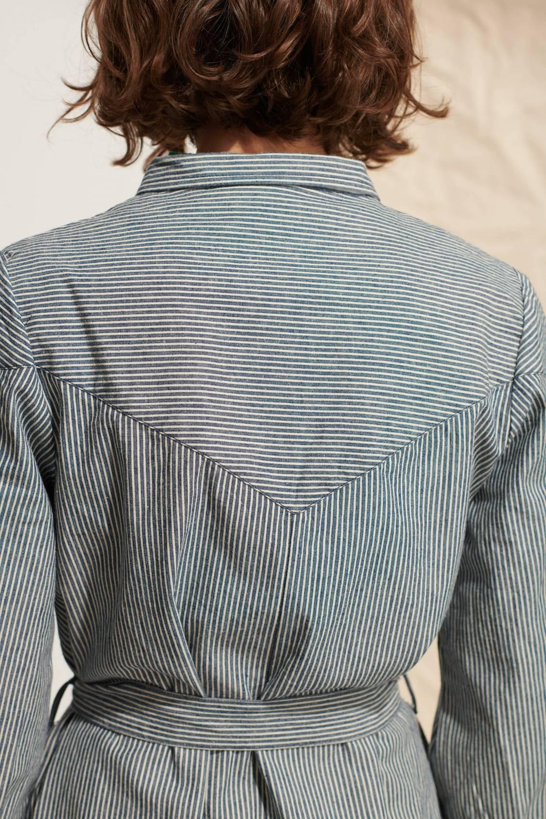 Long Striped Denim Dress