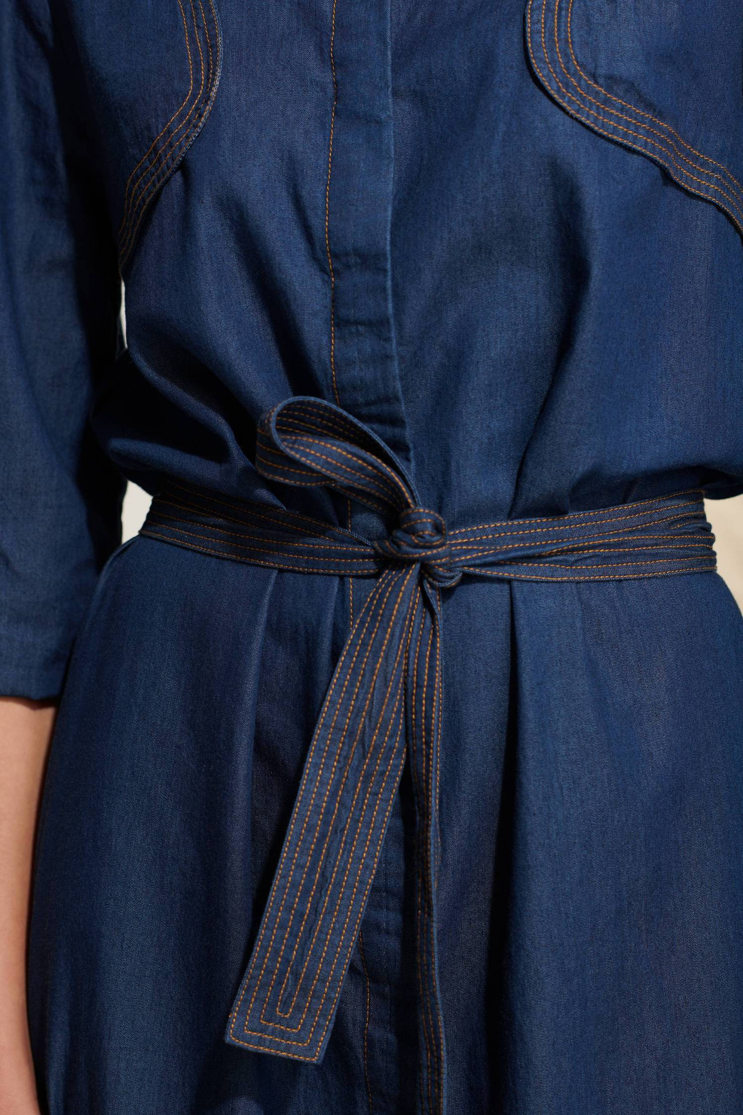 Robe longue en chambray