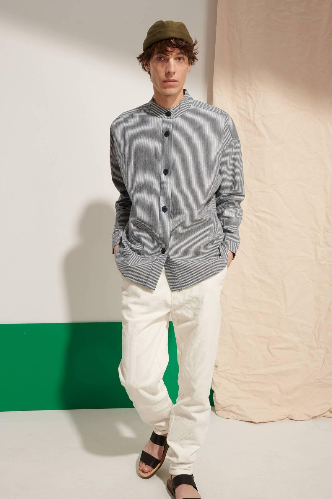 Mandarin-collar Wide Shirt