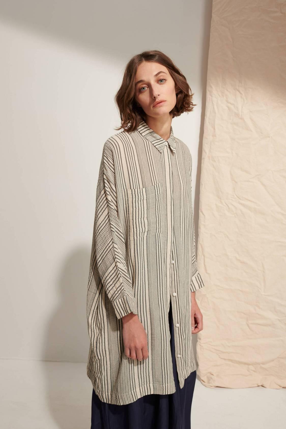 Striped Gauze Shirt Dress