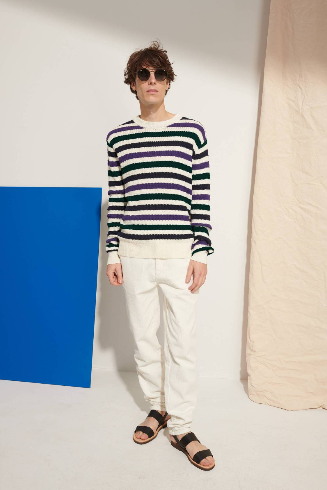 Tricolor-stripe Sweater
