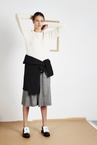Extrafine merino wool new Bobby sweater<br/>Tweed long skirt<br/>Genuine Le Mont Saint Michel work jacket