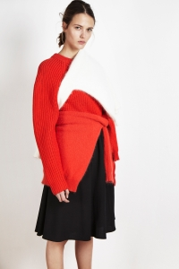Extrafine merino wool new Bobby sweater<br/>Angora élémentaire sweater<br/>Wool crêpe skirt
