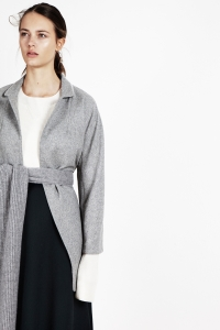 Wool blend coat<br/>Merino blend ribbed sweater<br/>Milano piqué knit long skirt