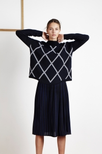 Extrafine merino wool graphic sweater<br/>Printed silk pleated skirt