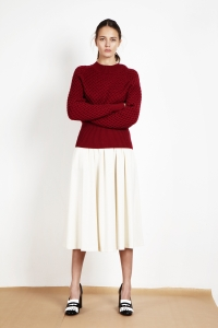 Extrafine merino wool cable sweater<br/>Tweed long skirt