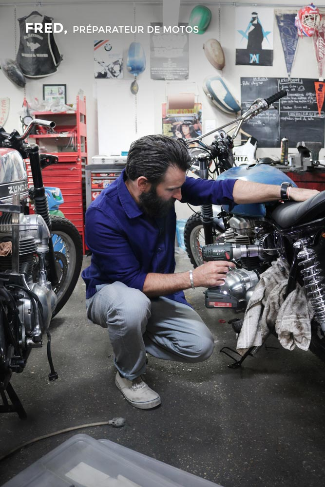 Fred, Préparateur de motos.